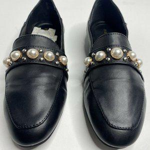 Madden Girl G-Olive Pearl Stud Black Loafers 6M